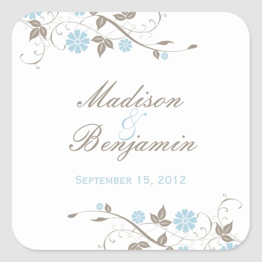 Modern Floral Favor Sticker - Aqua Blue
