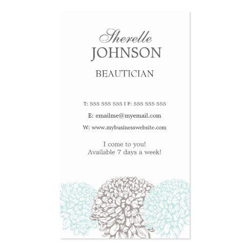 Modern Floral Flowers Neutral Beautician Cards Business Card Template