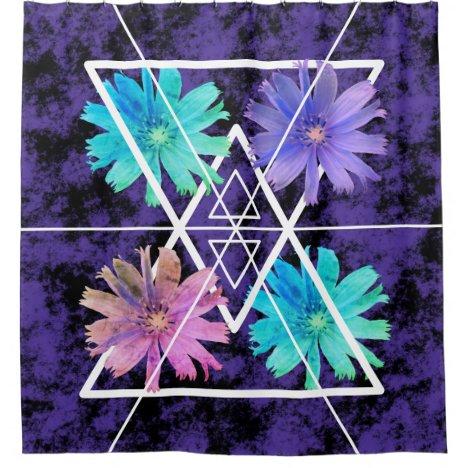 Modern floral geometric black purple shower curtain