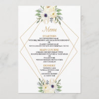 Modern Floral Geometric Wedding Menu Card