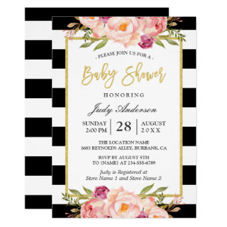 Modern Floral Gold Black White Stripes Baby Shower Card