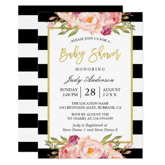 Modern Fl Gold Black White Stripes Baby Shower Invitation Zazzle