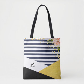 Modern Floral Gold Foil and Navy Blue Stripe Style Tote Bag
