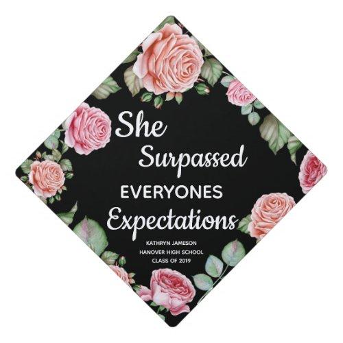 Modern Floral Graduate School And Class Graduation Cap Topper