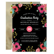 Modern Floral Graduation Invitation Photocards