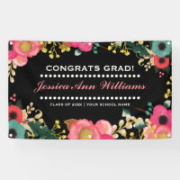 Modern Floral Graduation Party Banner