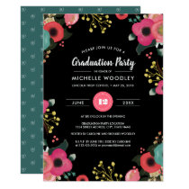 Modern Floral Graduation Party Invitations