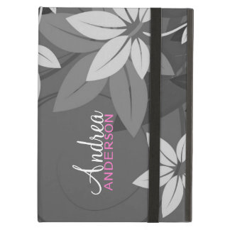Modern Floral Gray Folio iPad Case
