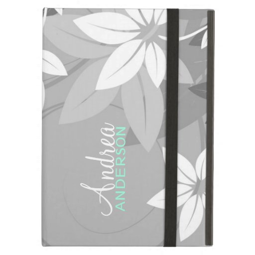 Modern Floral Gray White iPad Case
