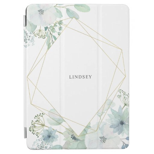 Modern Floral Greenery Gold Geometric Personalized iPad Air Cover