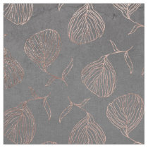 Modern floral hand drawn rose gold on grey cement fabric