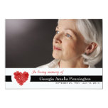 Modern floral heart in memory of photo flat card personalized announcement
