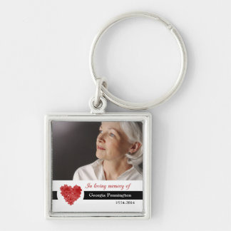 Modern floral heart in memory of photo keychains