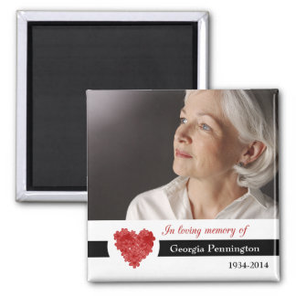 Modern floral heart in memory of photo magnet