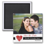 Modern floral heart save the date photo magnet