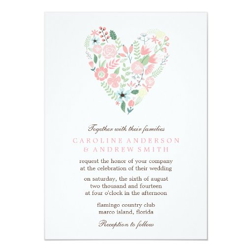 Modern floral heart wedding 5x7 paper invitation card zazzle for Paper fasteners wedding invitations