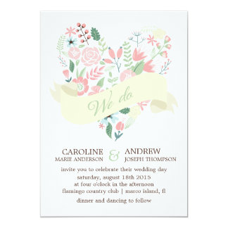 Modern Floral Heart Wedding Personalized Invites