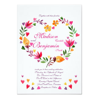 Modern Floral Heart Wedding Invitations