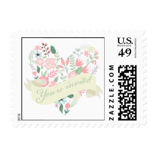 Modern Floral Heart Wedding Postage Stamps