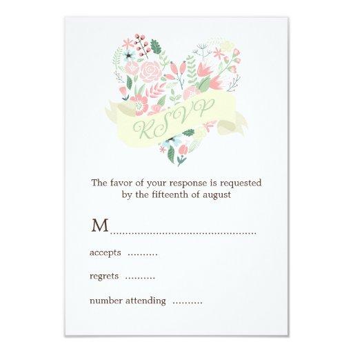 Modern Floral Heart Wedding RSVP Response Custom Announcements