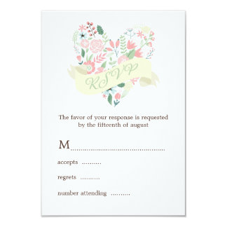 Modern Floral Heart Wedding RSVP Response 3.5x5 Paper Invitation Card