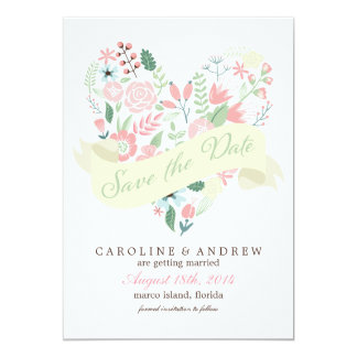 Modern Floral Heart Wedding Save the Date 5x7 Paper Invitation Card