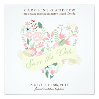 Modern Floral Heart Wedding Save the Date Custom Invitations