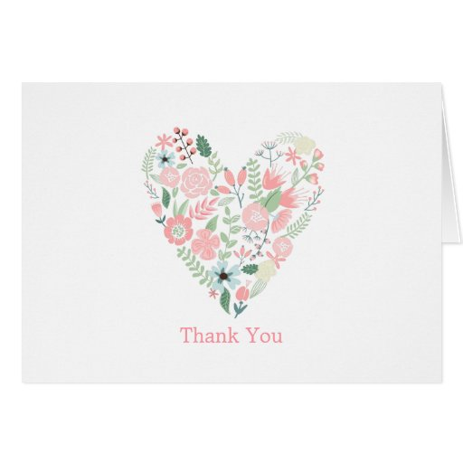 Modern Floral Heart Wedding Thank You Notes Stationery Note Card