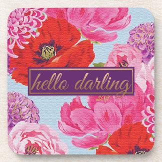 Modern Floral Hello Darling Square Coaster