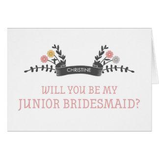 Modern Floral Junior Bridesmaid Request Card