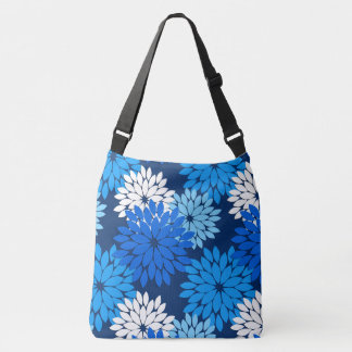 Modern Floral Kimono Print, Blue, Aqua & Navy Tote Bag
