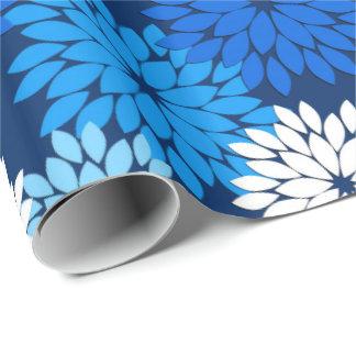 Modern Floral Kimono Print, Blue, Aqua & Navy Wrapping Paper