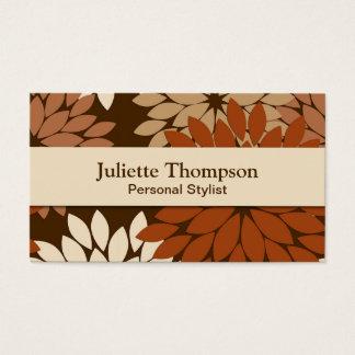 Modern Floral Kimono Print, Chocolate Brown & Tan Business Card
