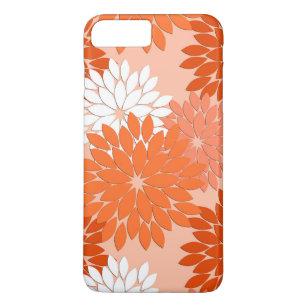 Japanese Asanoha pattern coral orange iphone case