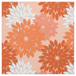 Modern Floral Kimono Print, Coral Orange on Peach Fabric