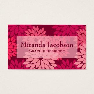 Modern Floral Kimono Print, Coral Pink & Burgundy Business Card