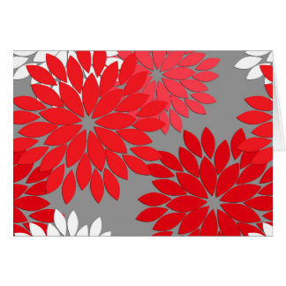 Modern Floral Kimono Print, Coral Red and Gray Card