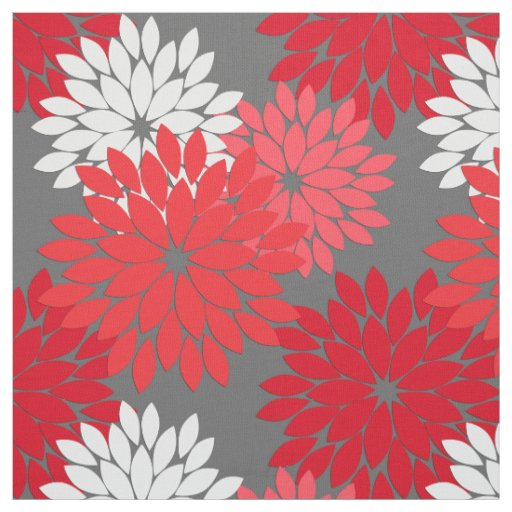 Modern Floral Kimono Print Coral Red And Gray Fabric