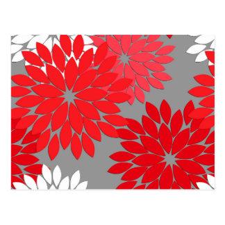 Modern Floral Kimono Print, Coral Red and Gray Postcard