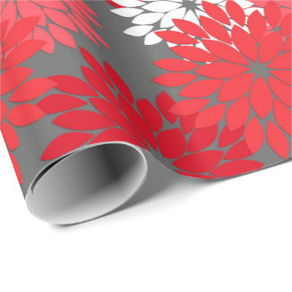 Modern Floral Kimono Print, Coral Red and Gray Wrapping Paper