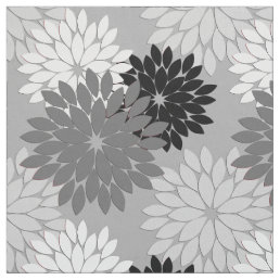 Modern Floral Kimono Print, Gray, Black and White Fabric