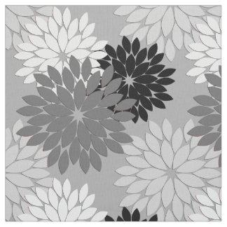 modern floral kimono print gray black and white fabric