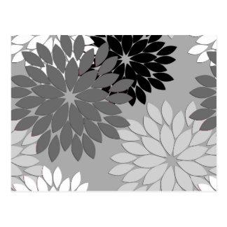 Modern Floral Kimono Print, Gray, Black and White Postcard