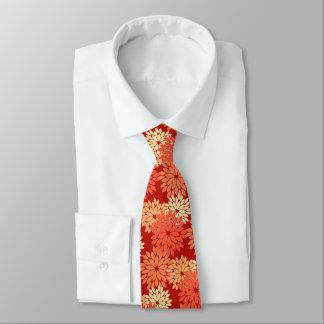 Modern Floral Kimono Print, Mandarin Orange Neck Tie