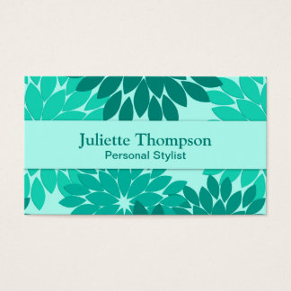 Modern Floral Kimono Print, Turquoise, Teal & Aqua Business Card