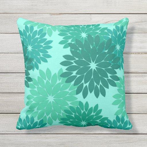 Modern Floral Kimono Print, Turquoise, Teal & Aqua Pillow Zazzle