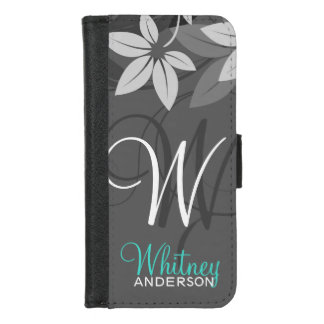 Modern Floral Ladies Monogram iPhone Folio iPhone 8/7 Wallet Case