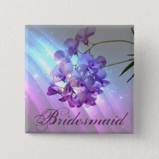 modern floral lilac purple orchid bridesmaid pinback button