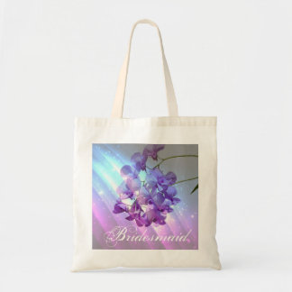 modern floral lilac purple orchid bridesmaid tote bag