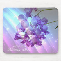 modern floral lilac purple orchid wedding mouse pad